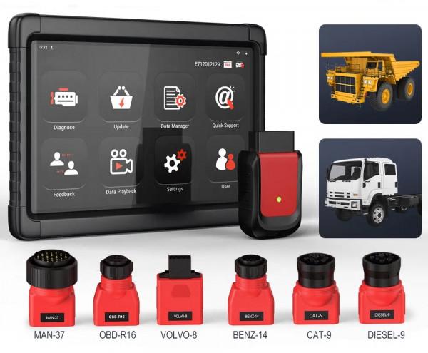 LKW Trucks Profi Diagnose Gerät, komplett mit System Koffer und Adapterset für ältere LKW Modelle.