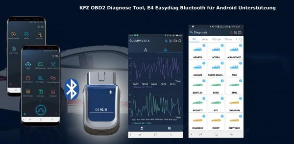 KFZ OBD2 Diagnose Tool, E4 Easydiag Bluetooth für Android Unterstützung ABS/Batterie/DPF/EPB