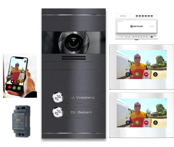 VDM10 Mehrfamilien Video-Türsprechanlage, Edelstahl DB 703 Eisenglimmer mit 2 Klingeltastern 2-Draht