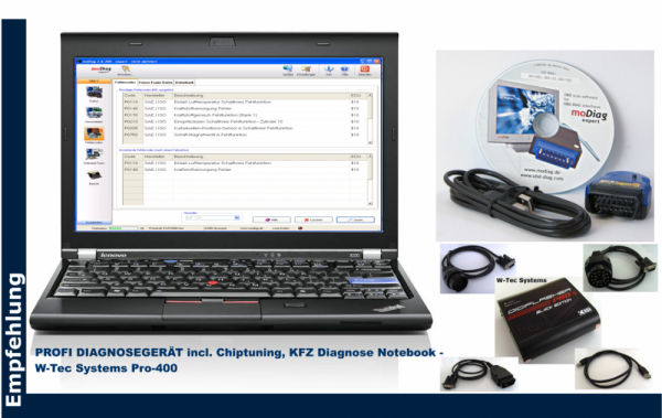 All-in-One, 3-in-1 Marken PROFI DIAGNOSEGERÄT incl. Chiptuning, KFZ Diagnose Notebook, Brotos® Basis