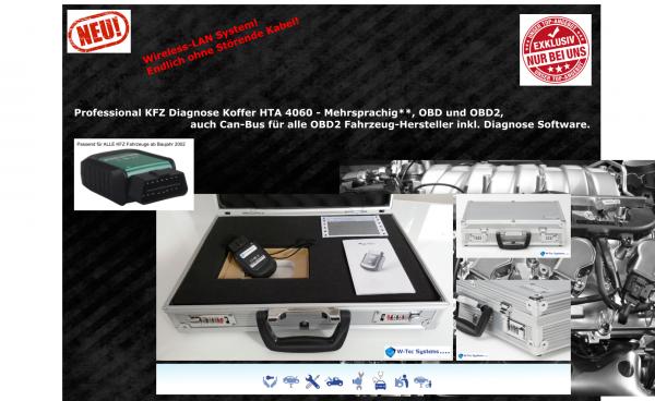 Werkstatt KFZ - Professional Diagnose Koffer HTA 4060 - Markengerät, W-Tec Systems® - Mehrsprachig**