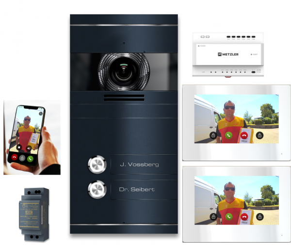 VDM10 Mehrfamilien IP Video Türsprechanlage Edelstahl Anthrazit RAL7016 mit 2 Klingeltastern 2-Draht