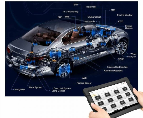 KFZ Diagnose Tablet Gerät, 9,6Zoll Tablet, Full System, Auto Diagnostic Tool mit IMMO/ABS/EPB/SA