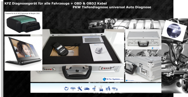 KFZ DIGITAL Diagnosegerät für alle Fahrzeuge + OBD & OBD2 Kabel PKW Tiefendiagnose universal Auto Di