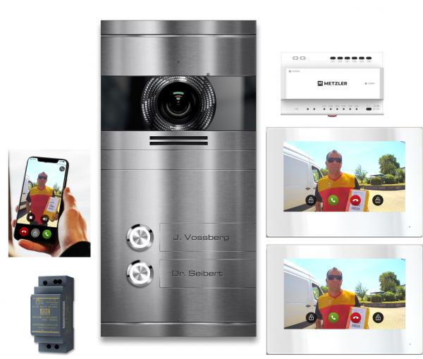 VDM10 Mehrfamilien IP Video Türsprechanlage Edelstahl gebürstet mit 2 Klingeltastern 2-Draht